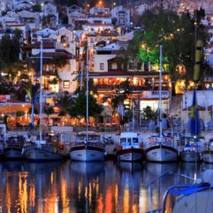 Kalkan at night resturants and bars on waterfront
